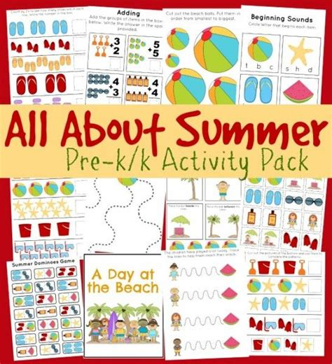 free pre k k printable pack all about summer quot frugal fun