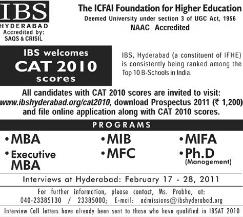 Icfai Hyderabad Mba Eligibility by Admision Mantra Ibs Hyderabad Icfai Foundation For