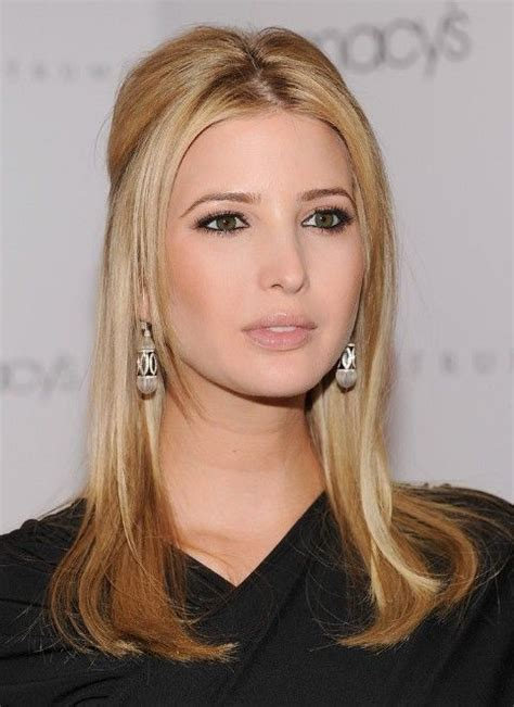 hairstyles with center cut bangs ivanka trump center parted long sleek blonde hairstyle