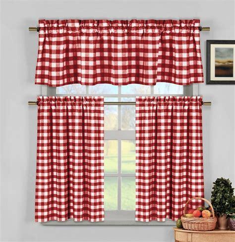 white gingham checkered plaid kitchen tier curtain