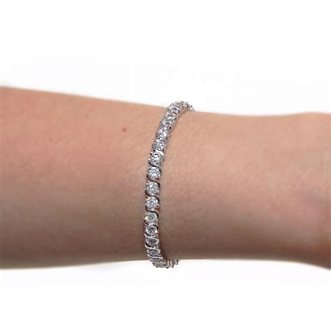 Silver color Rhodium Plated Brass Clear CZ Tennis Bracelet SBBB00006