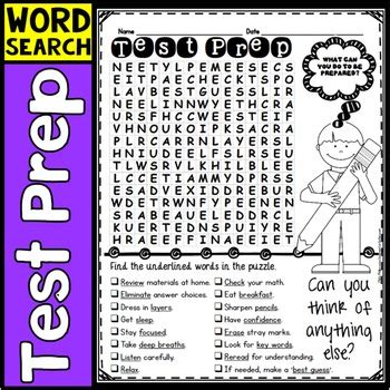 Lookup Test Test Prep Word Search Activity By Elementary Lesson Plans Tpt