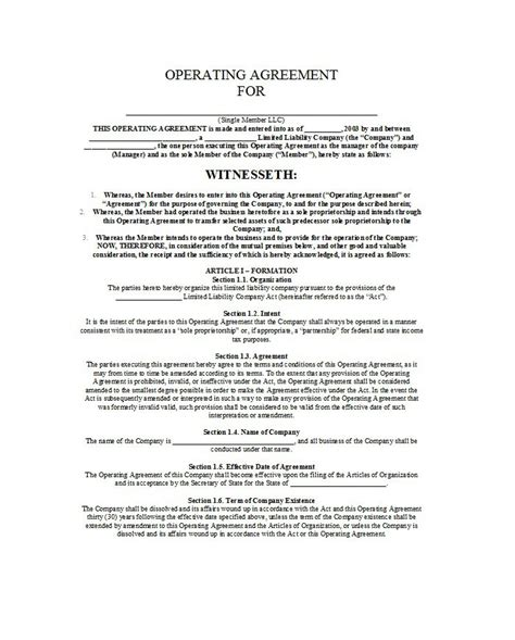 professional llc operating agreement templates  template downloads