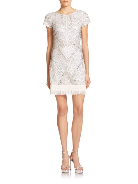 43798 White Trim Dress aidan mattox beaded fringe trim dress in white lyst