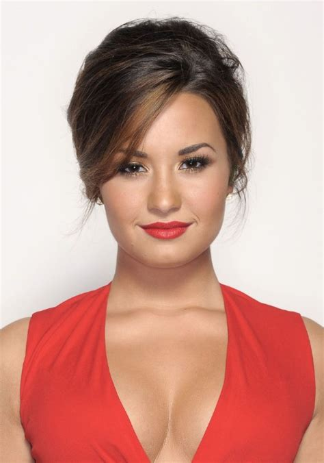 Demi Lovato Casual French Twist With Side Swept Bangs | demi lovato casual french twist with side swept bangs