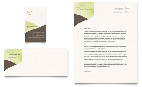 memorial funeral program business card letterhead