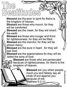 The Beatitudes Coloring Sheet Kids Church Pinterest Beatitudes Coloring Pages