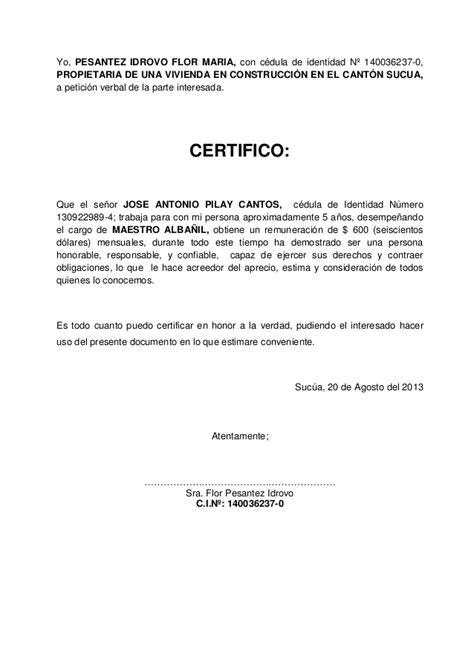 modelo de certificado sobre experiencia laboral para las pruebas certificado de trabajo ecuador noticias noticias de