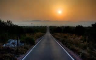 hd long straight road  santa pola spain wallpaper