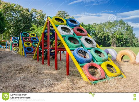Playground Built With Old Tires For Children Plays Stock