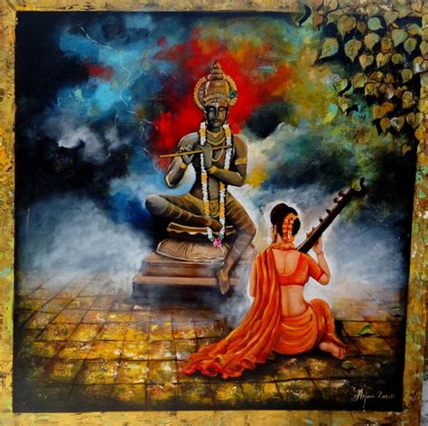 krishna sang meera 2 by artist arjun das acrylic paintings