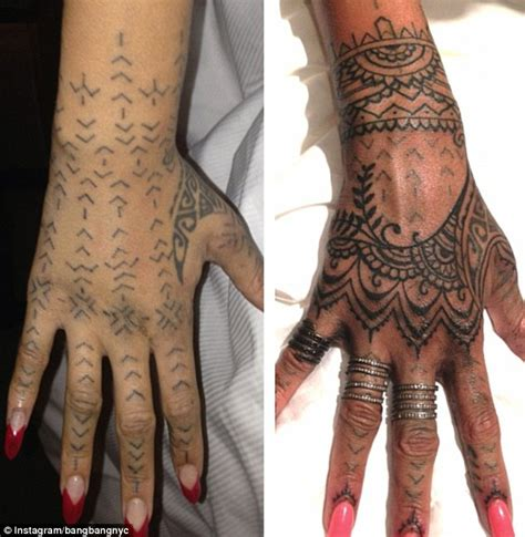 rihanna henna hand tattoo rihanna flies artists 1 500 to spend 11
