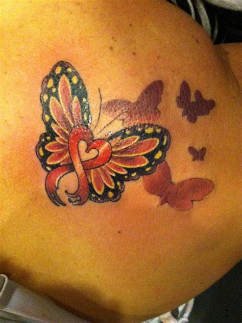 heart ribbon tattoo my new disease ribbon to honor my and