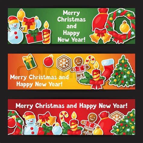 Banner Rumbai Hologram Merry Happy New Year merry and happy new year sticker banners stock vector colourbox