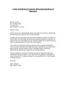 Letter explaining customer misunderstanding of warranty hashdoc