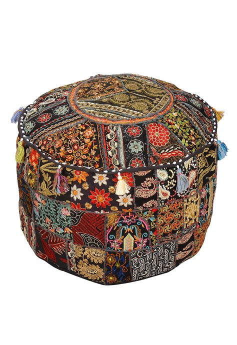 Indian Ottoman Large Tufted Storage Indian Ottoman Cover Shri Mandala