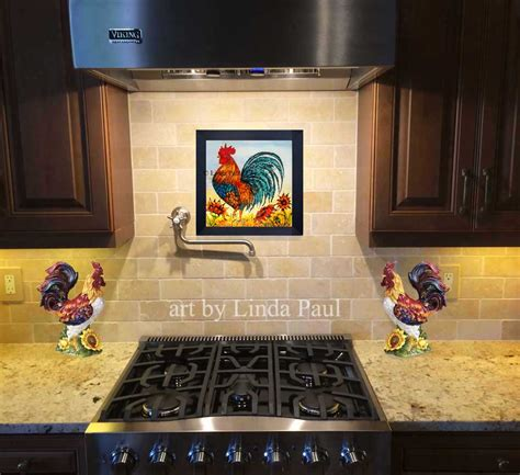 decorative ceramic wall tile backsplash with brick styled cabinet for superb outdoor kitchen rooster decor framed wall art or backsplash tile for kitchen