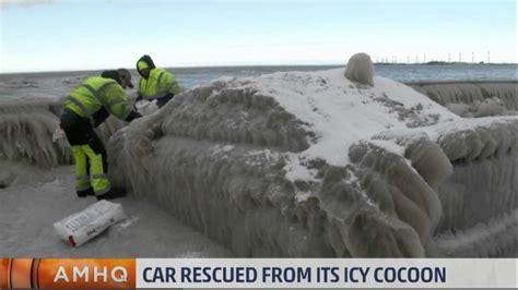 the weather channel lake erie ice car youtube