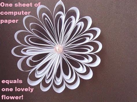 How To Make A Flower Out Of Notebook Paper - one sheet of computer paper one lovely flower