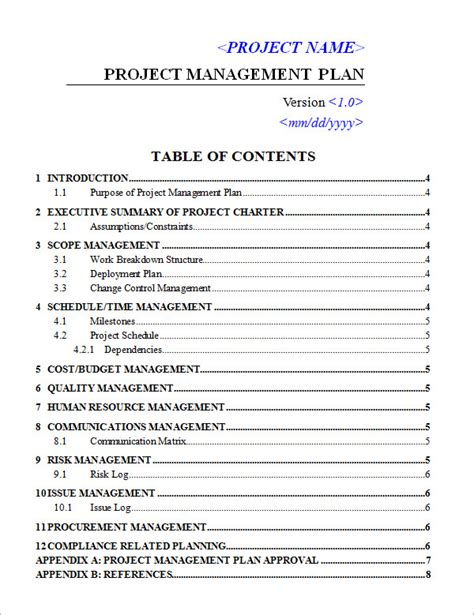 project management plan template doc project plan template 18 free documents in pdf
