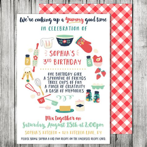 Invitation Card Cooking Template by Cooking Birthday Invitation Cooking Baking