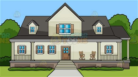 A House With Big Front Porch Background Cartoon Clipart Vector Toons | a house with big front porch background vector clip art