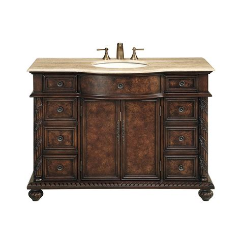 48 sink vanity stufurhome 48 quot amelia single sink vanity with travertine