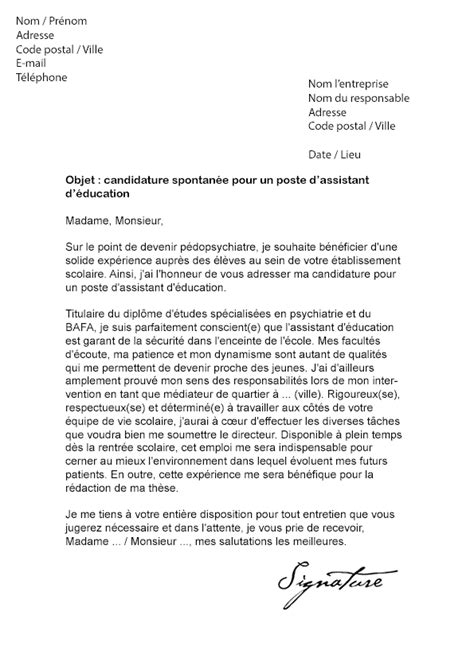Lettre De Motivation Candidature Spontanée Education Nationale Lettre De Motivation Assistant D 233 Ducation Mod 232 Le De Lettre