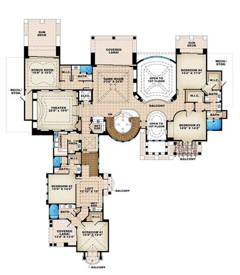mediterranean style house plan 6 beds 8 5 baths 10178 sq