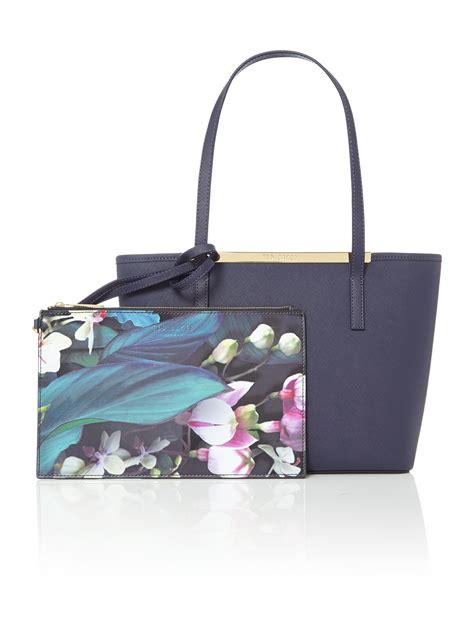 Bag Tote Navy ted baker phoebie navy small saffiano tote bag in blue navy lyst