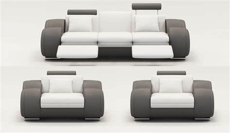 canape cuir blanc et gris deco in ensemble canape cuir relax oslo 3 1 1