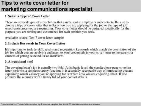 marketing specialist cover letter marketing communications specialist cover letter