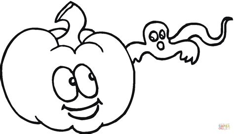 little pumpkin coloring pages cute pumpkin and little ghost coloring page free