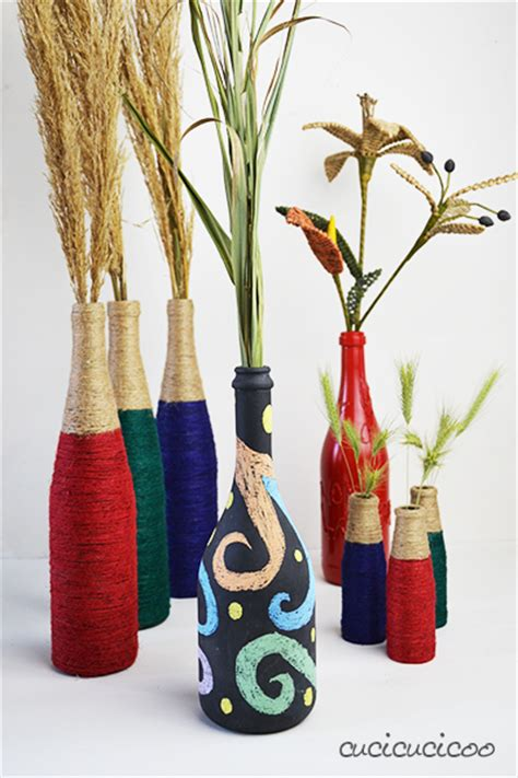 Spray Paint Glass Vases Wine Bottle Crafts 2 Upcycled Vases With Materials You
