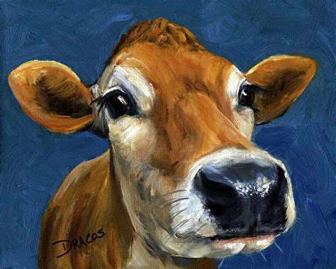 scow paintings sweet jersey cow painting by dottie dracos