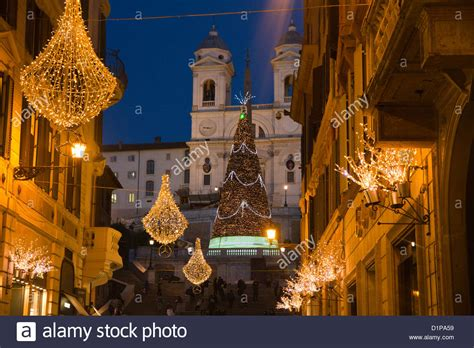 which christmas decoration is the best in italy via condotti rome italy decorations lights stock photo royalty free image