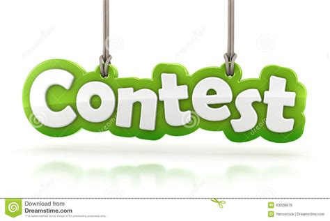 contest results contest green word text hanging on white background stock