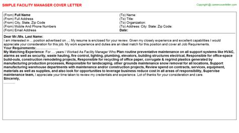 Facilities Manager Cover Letter Facility Manager Cover Letter