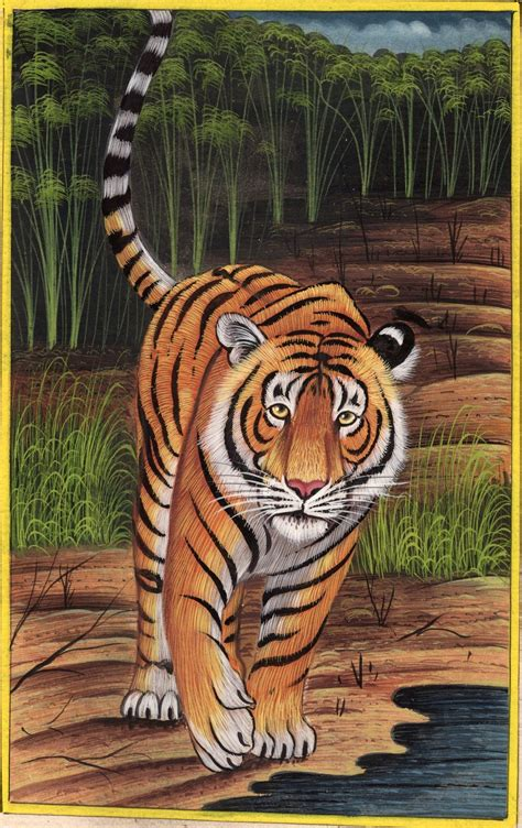 animal painting free royal bengal indian tiger handmade grand miniature