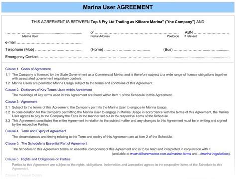 Welcome Package Agreement Marina User Form Marine Purchase Agreement Template