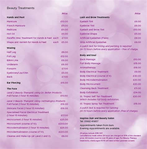 beauty price list inspires salon