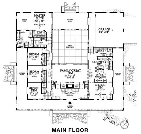 Adobe House Plans With Courtyard Floor Plan Hacienda Adobe Style Floors And