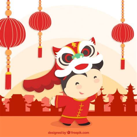 celebrating chinese new year vector free download