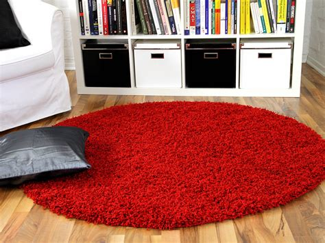 teppich rund modern hochflor langflor shaggy teppich aloha rot rund teppiche