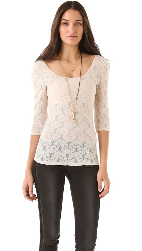 Vanila Blouse By Naura free scalloped lace layering top in lyst