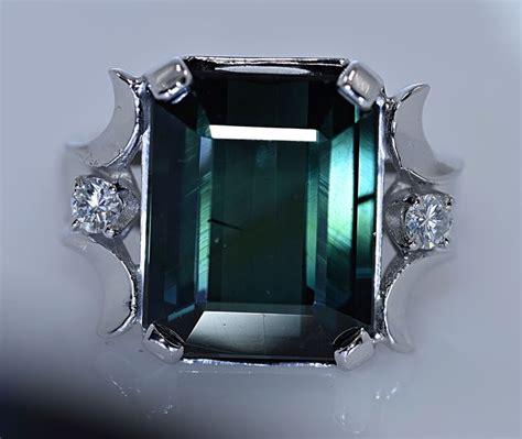 Green Tourmaline 5 25 Ct 10 53 ct green tourmaline with diamonds ring no reserve