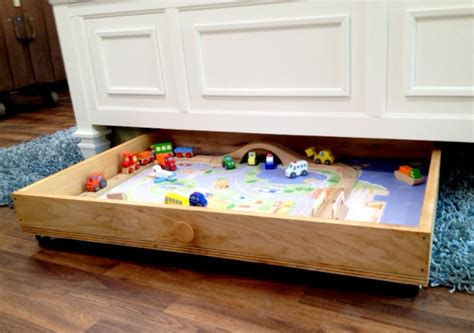 under bed train table 10 diy kids storage ideas