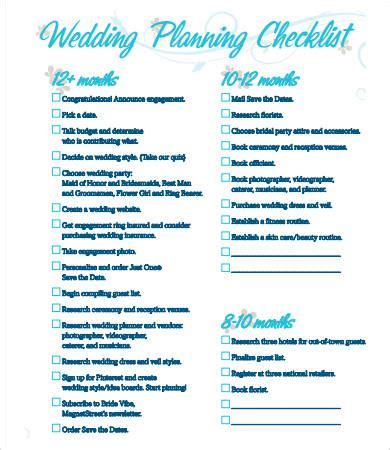 Wedding Reception Checklist Printable by Printable Wedding Checklist 9 Free Pdf Documents