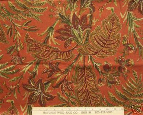 new fabric duralee botanical print fabric red rust green gold ebay