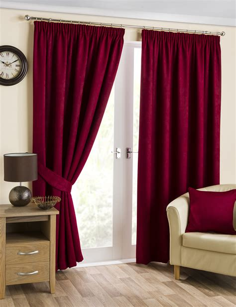 cranberry curtains cranberry ready made luxury thermal blackout curtains tape